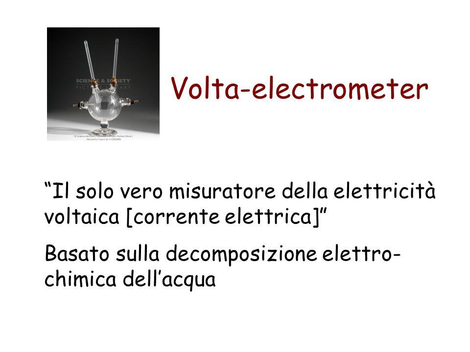 Volta-electrometer Il solo vero misuratore della elettricità voltaica [corrente elettrica] Basato sulla decomposizione elettro-chimica dell'acqua.